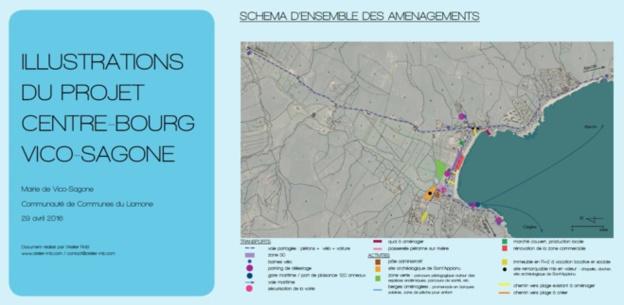 PLAN MASSE DES AMÉNAGEMENTS À L'ÉCHELLE DU CENTRE-BOURG :  vers un apaisement des circulations et une nouvelle centralité autour du site de Sant'Appianu