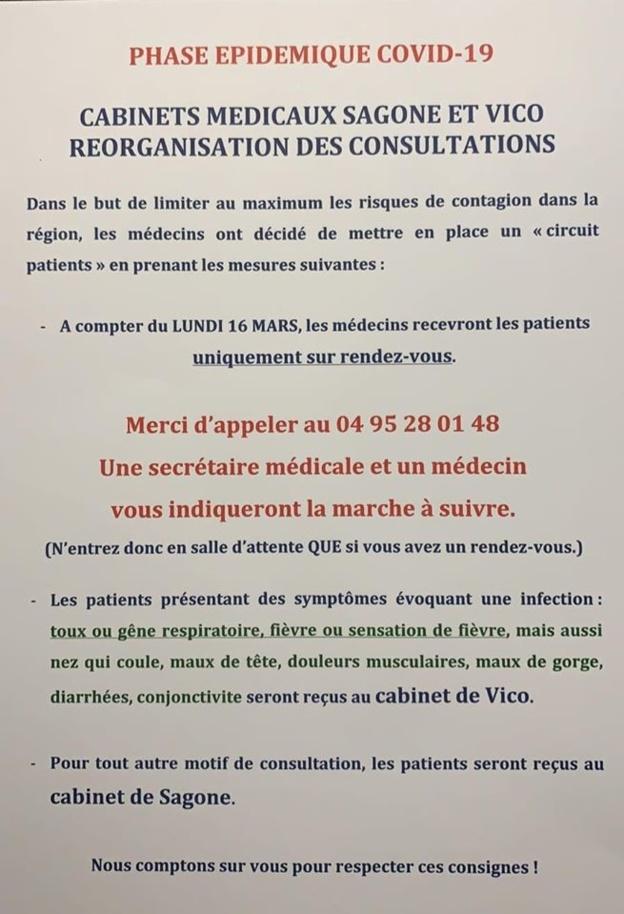 Modification de l'organisation des cabinets médicaux de Vico et Sagone