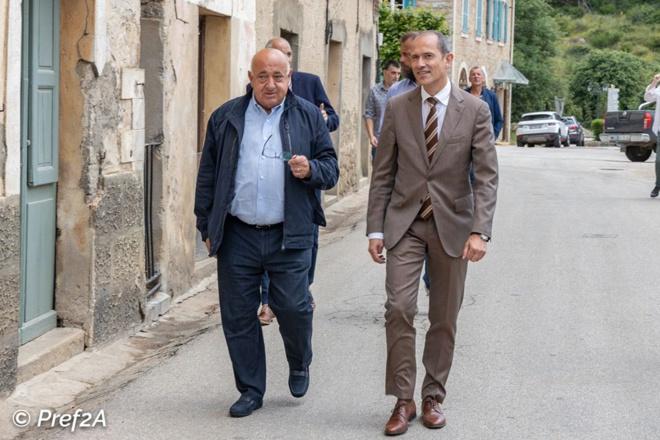 Franck Robine préfet de Corse en visite à Vico