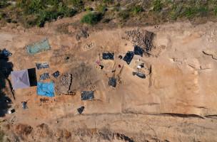 Photographie aérienne de la zone orientale du chantier