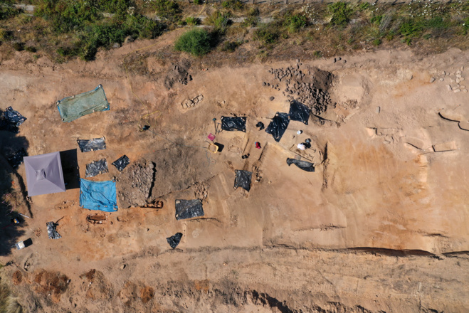 Vue aérienne du site de la nécropole de Sant'Appianu (Ouest)