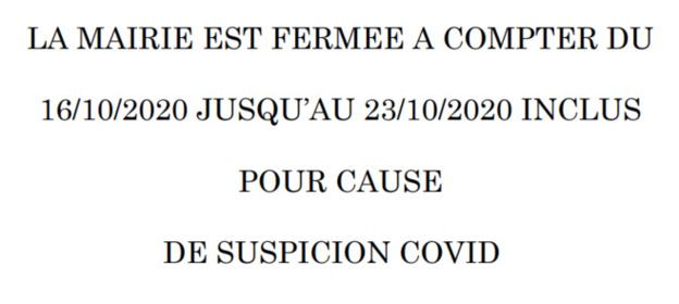 FERMETURE DE LA MAIRIE - SUSPICION COVID