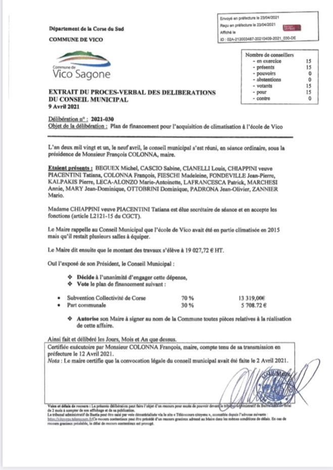 Conseil Municipal du 9 Avril 2021