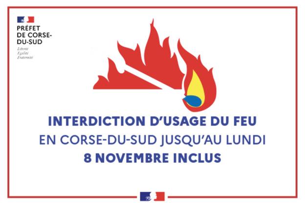 Interdiction d'usage du feu en Corse du Sud jusqu'au Lundi 8 Novembre inclus
