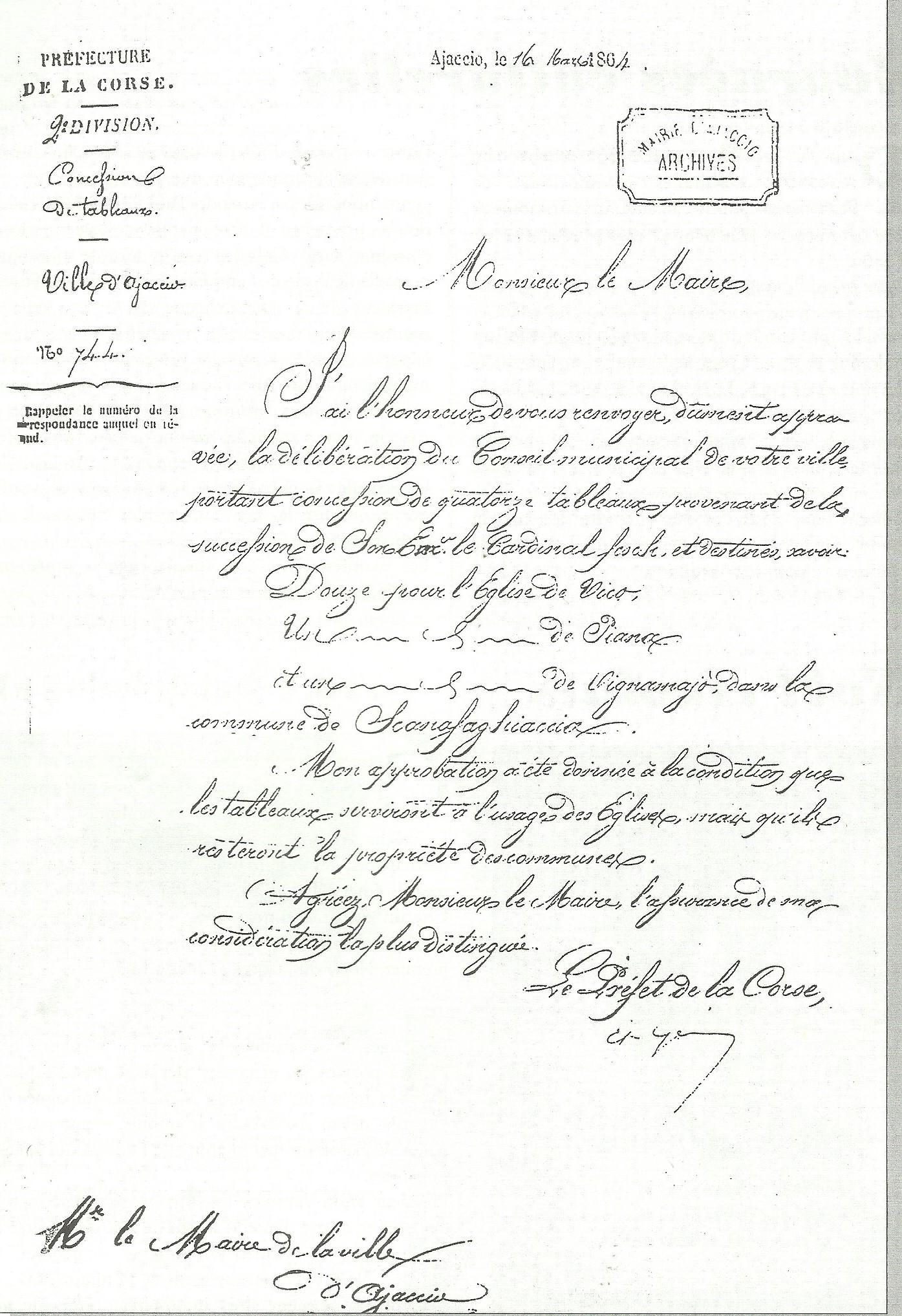 Lettre de Mr le Préfet de la Corse à Mr le Maire d'Ajaccio approuvant la délibération de son conseil municipal