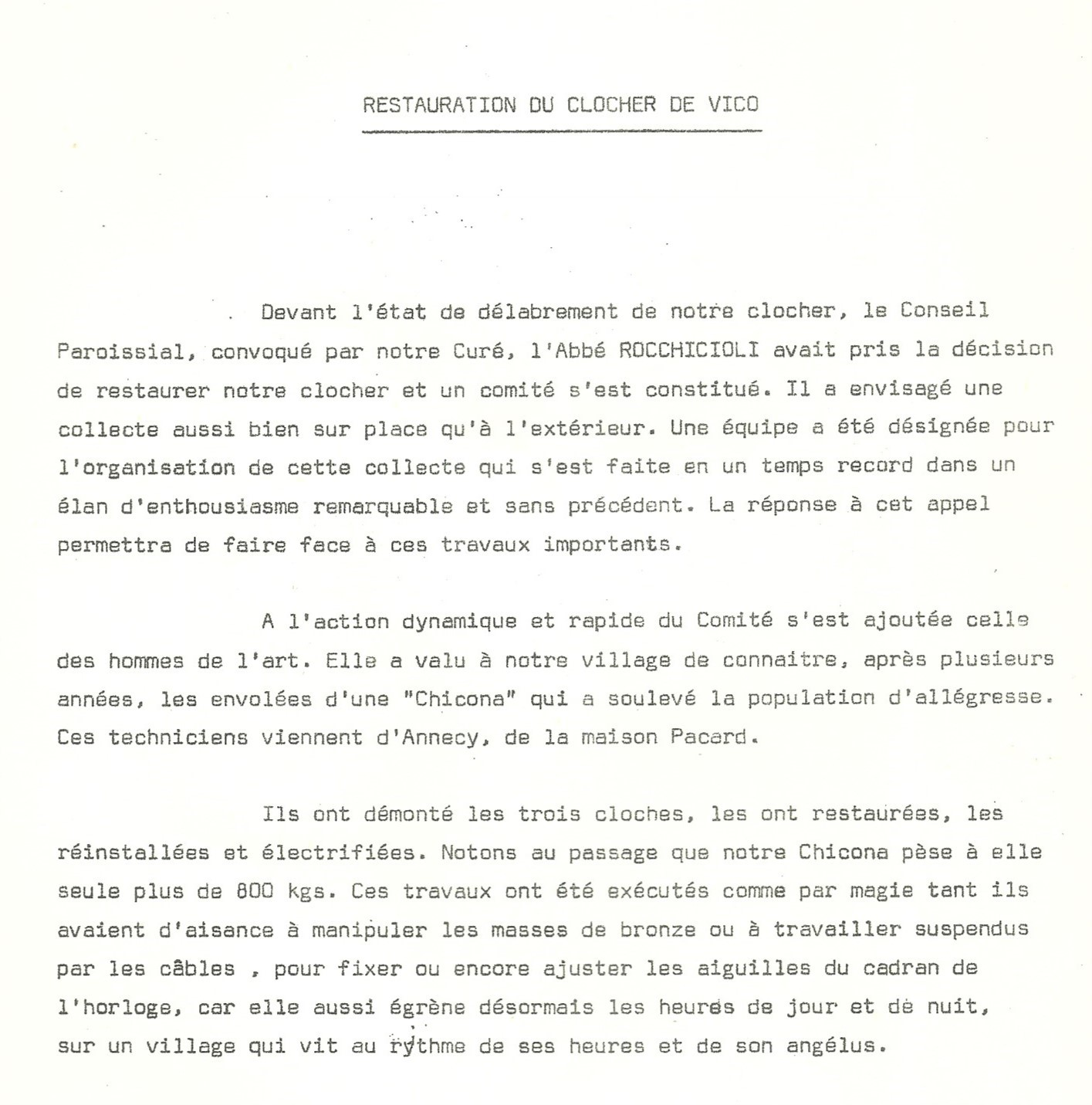 Extrait du bulletin municipal d'Avril 1974