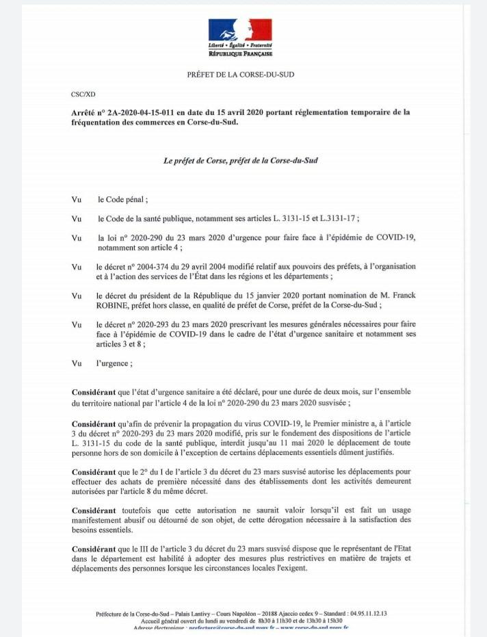 Fréquentation des commerces en Corse du Sud