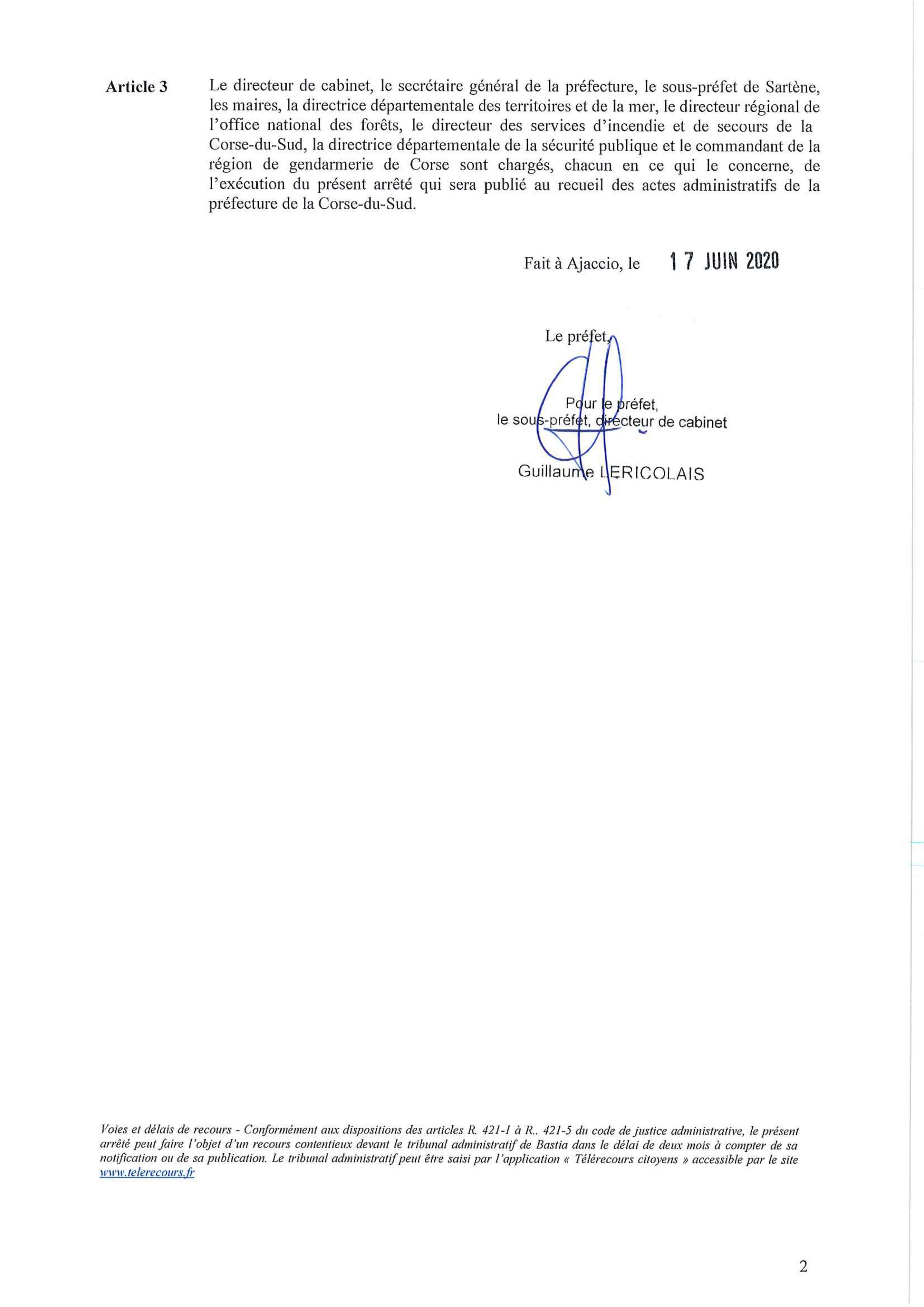 Arrêté préfectoral relatif à la réglementation de l'emploi du feu en Corse du Sud