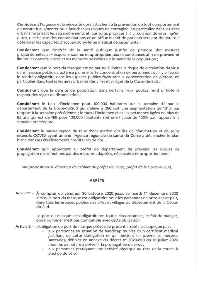 Communiqué de la Préfecture de  Corse du Sud