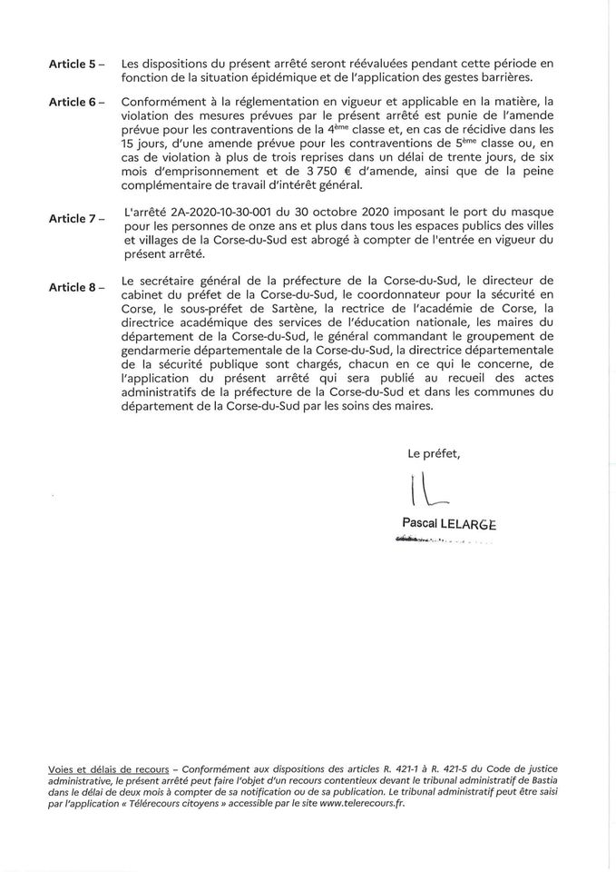 Arrêté préfectoral du 25 novembre 2020 portant sur le port du masque.