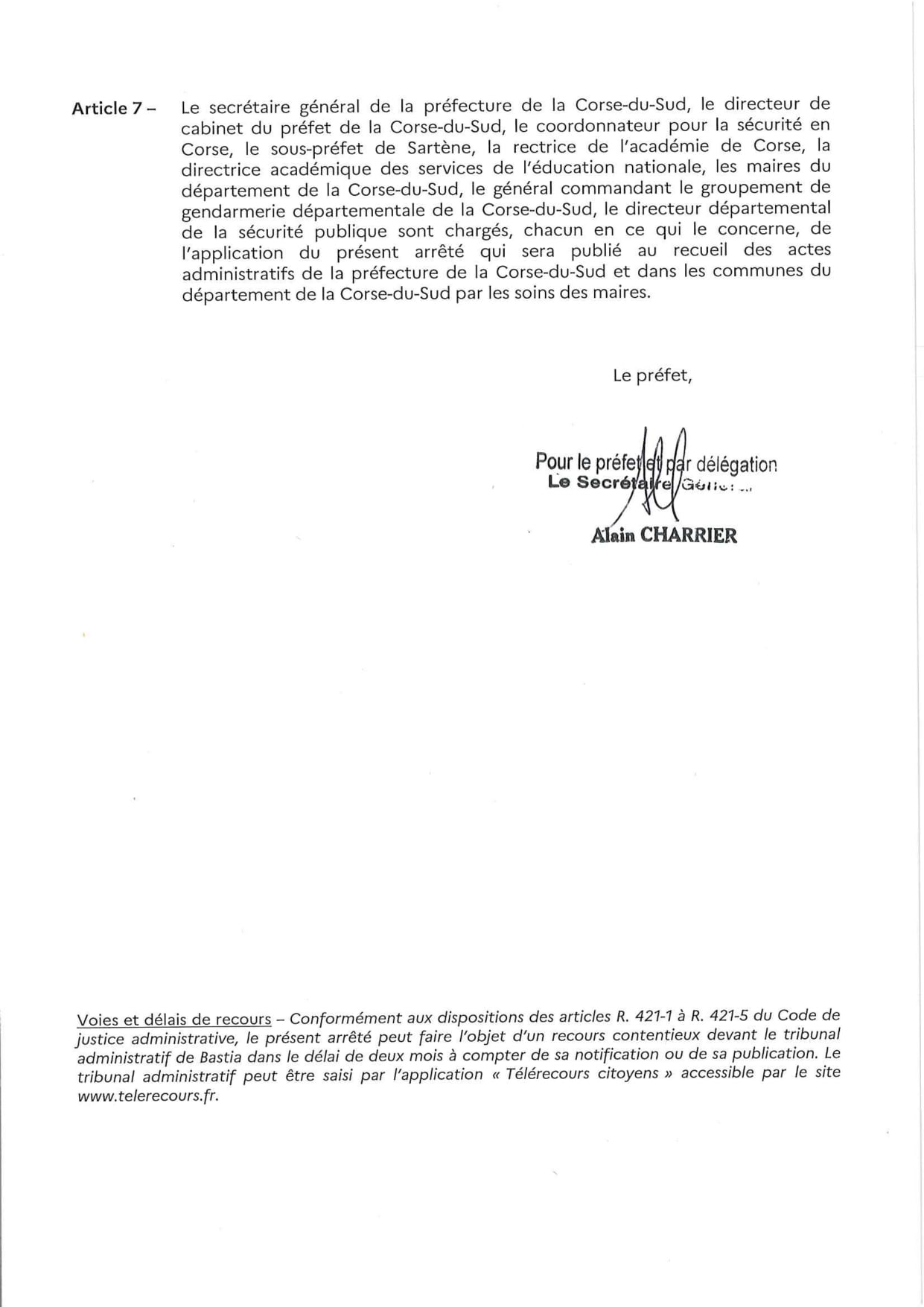 Arrêté préfectoral portant sur le port du masque en Corse du Sud