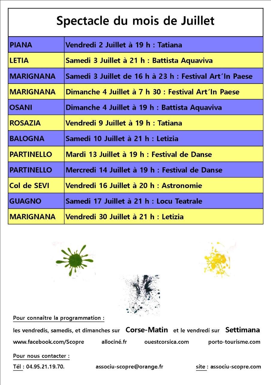 Programme Associu Scopre  Marignana     Juillet 2021