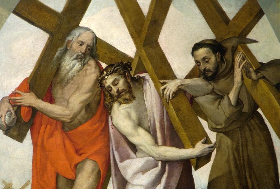 Bartolomeo Passarotti ( 1529-1592) Le Christ entouré  par le prophète Jérémie ( ou Saint jérôme) et Saint  François d'Assise. Huile sur toile 234x183 cm